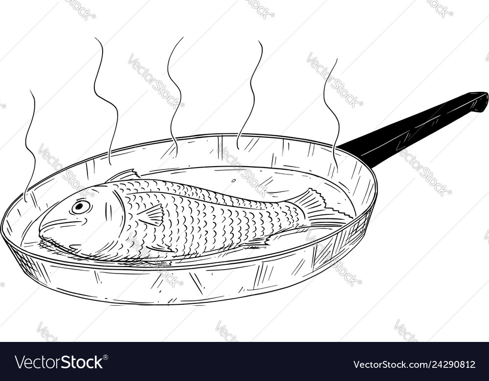 Cartoon Drawing Of Fish Cooked On Frying Pan Vector Image