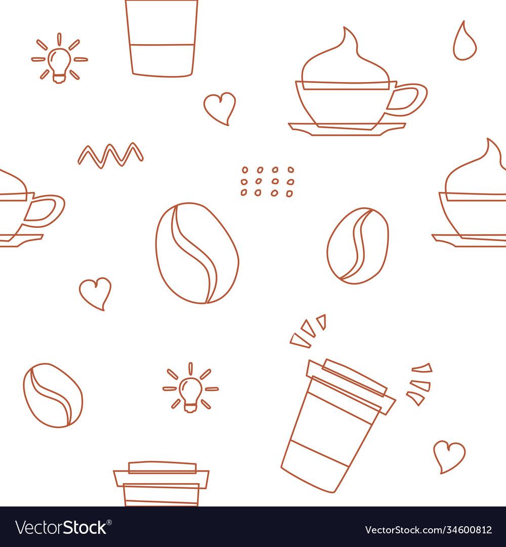 Coffee seamless pattern background logo icon