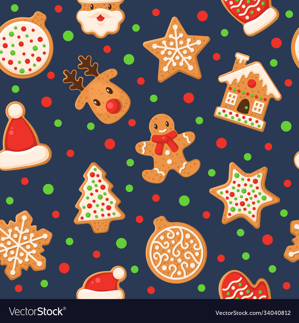 Gingerbread seamless pattern holiday gingerbreads