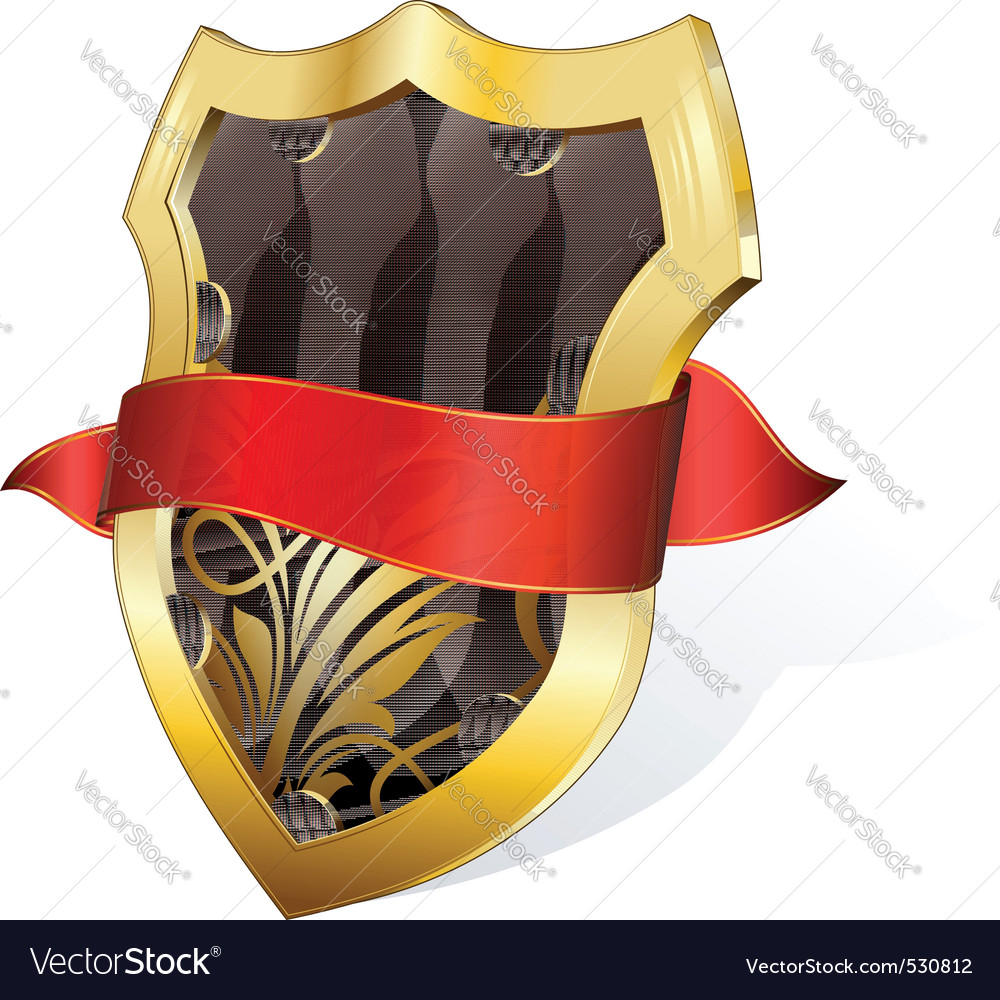 Gold shield with ribbon