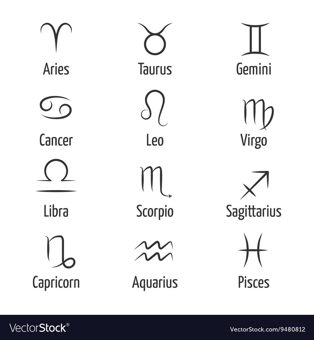 Hand Drawn Zodiac Symbols Royalty Free Vector Image