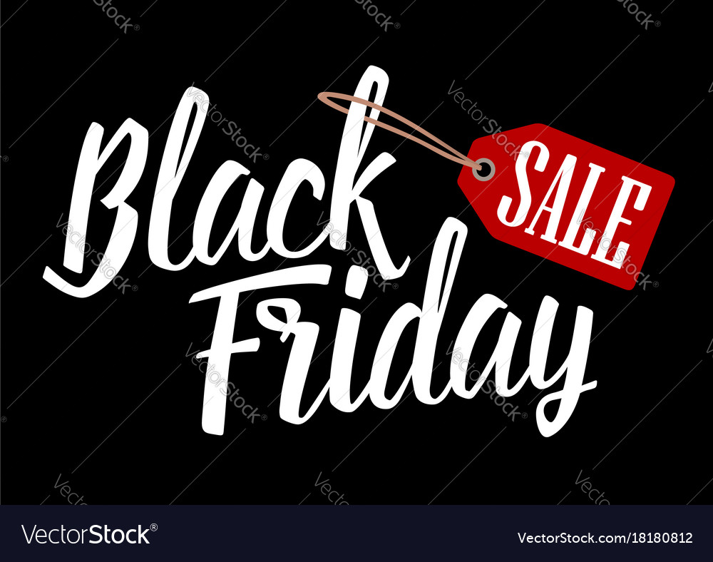 Lettered text black friday with hanging sale tag