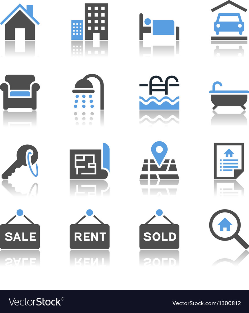 Real estate icons reflection