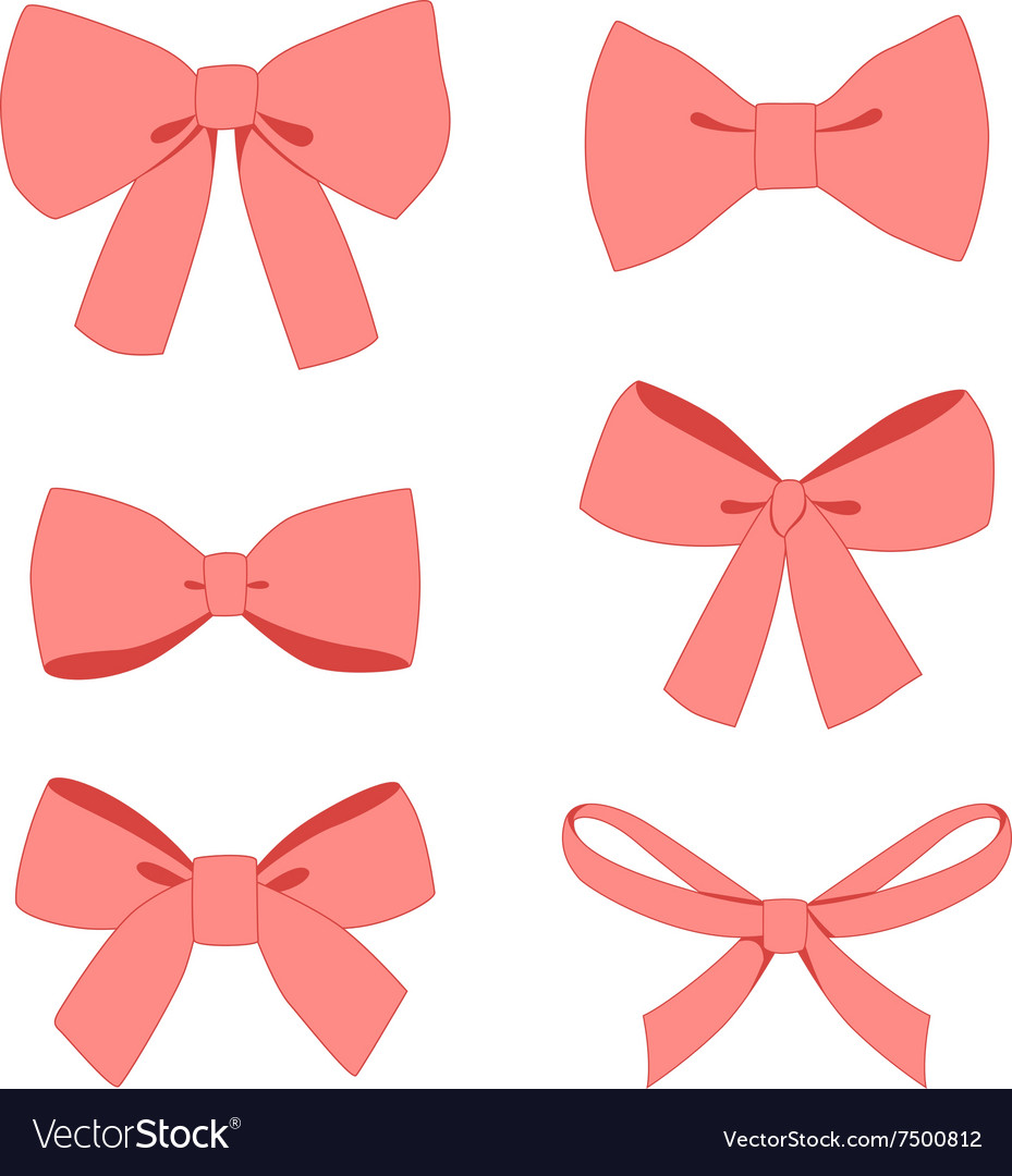 Set of pink vintage gift bows wih ribbons vector image