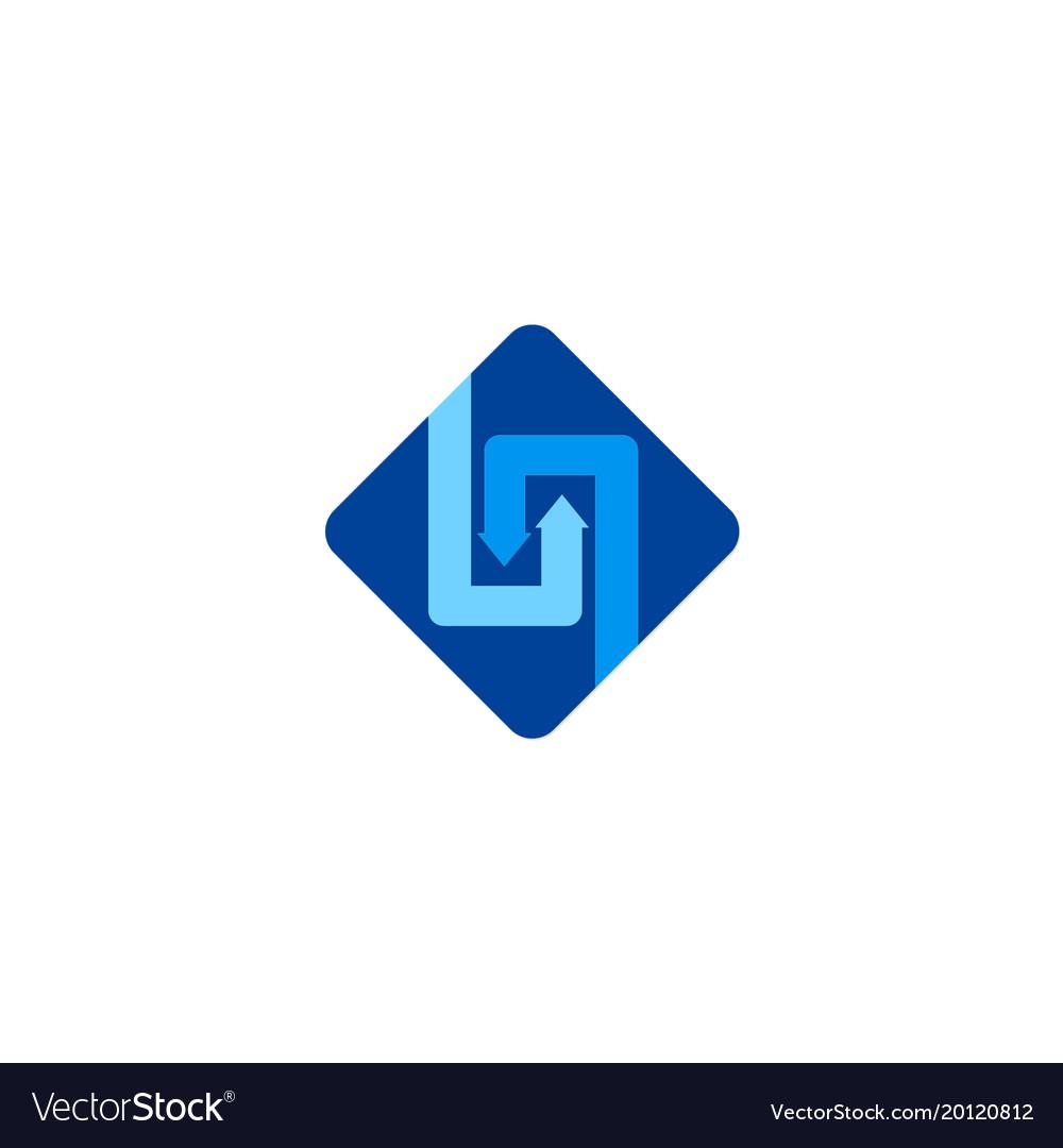 Square circle arrow business logo