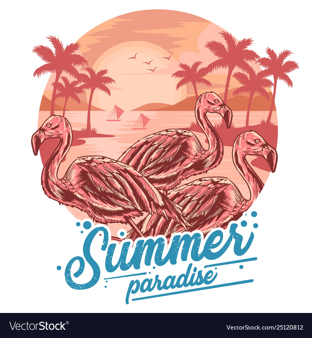 Summer flamingo and coconut tree in beach view v