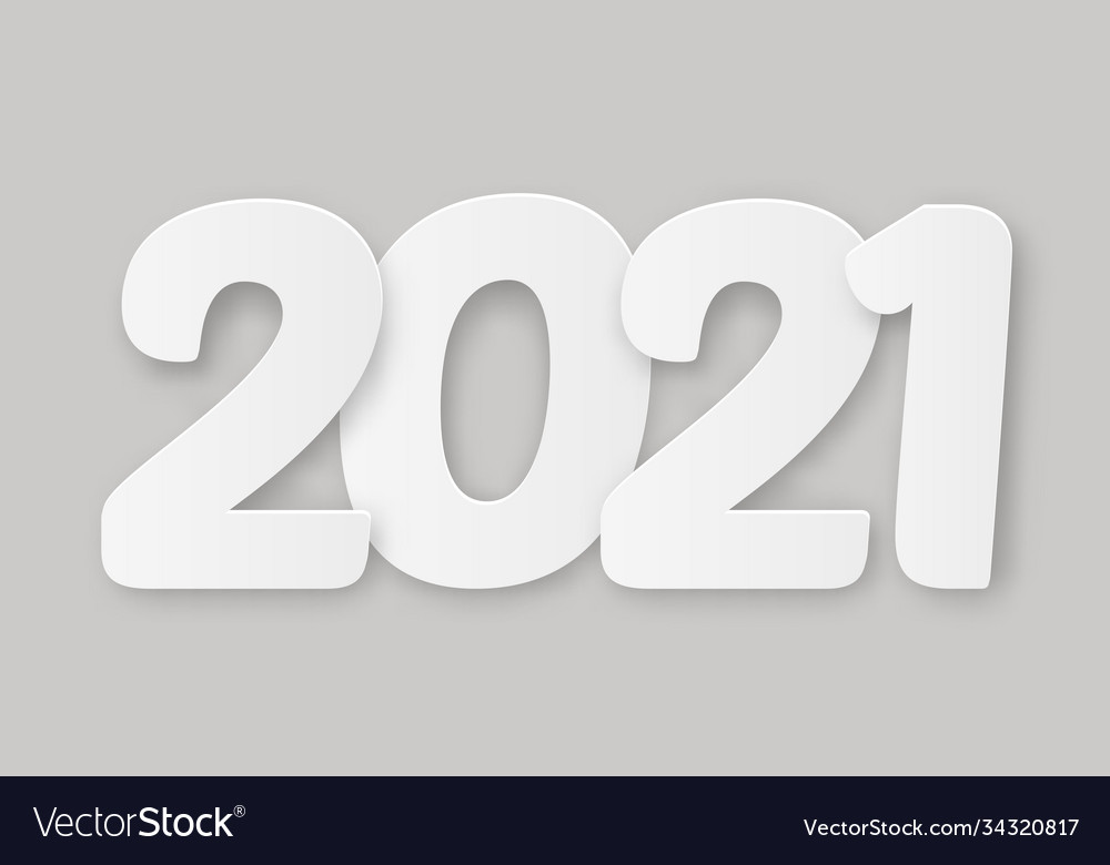 2021 happy new year with 3d realistic numbers