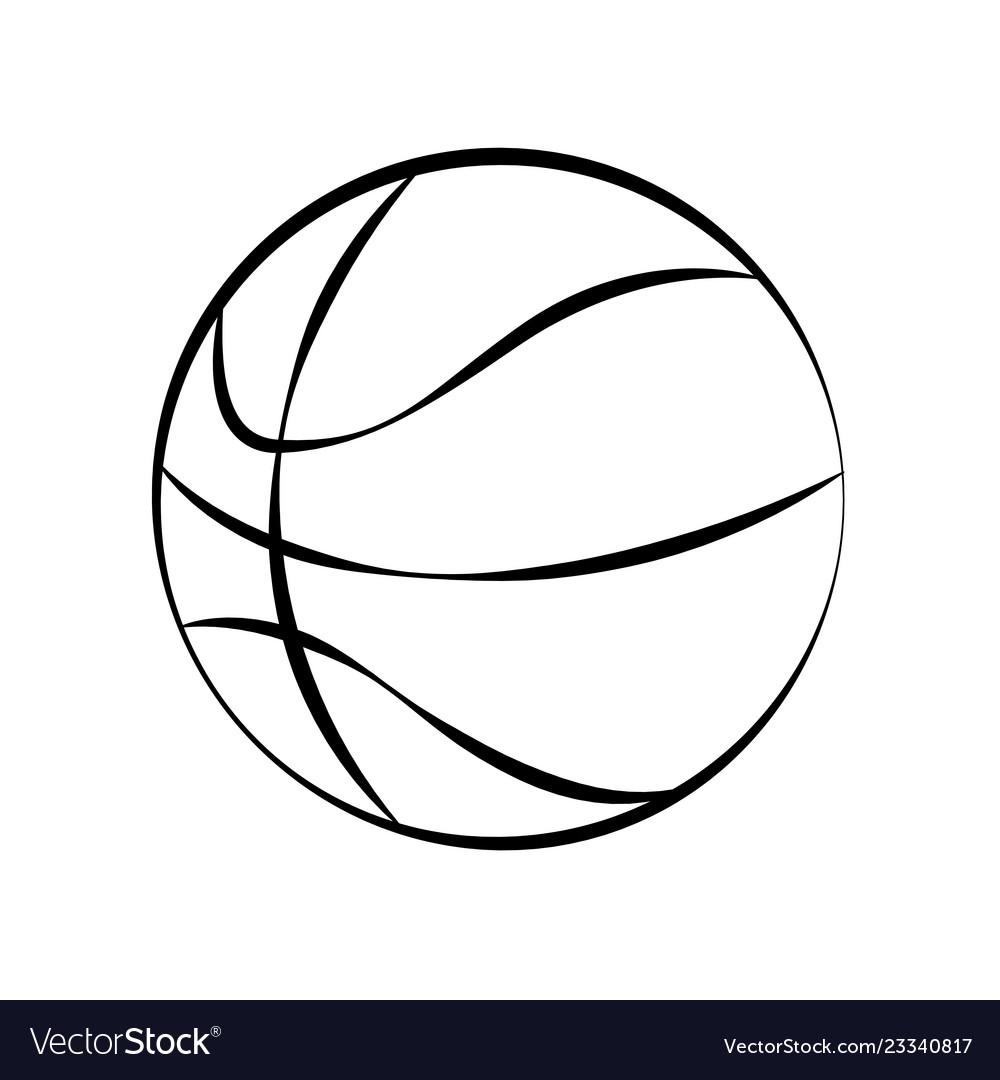 Basketball ball doodle on white background