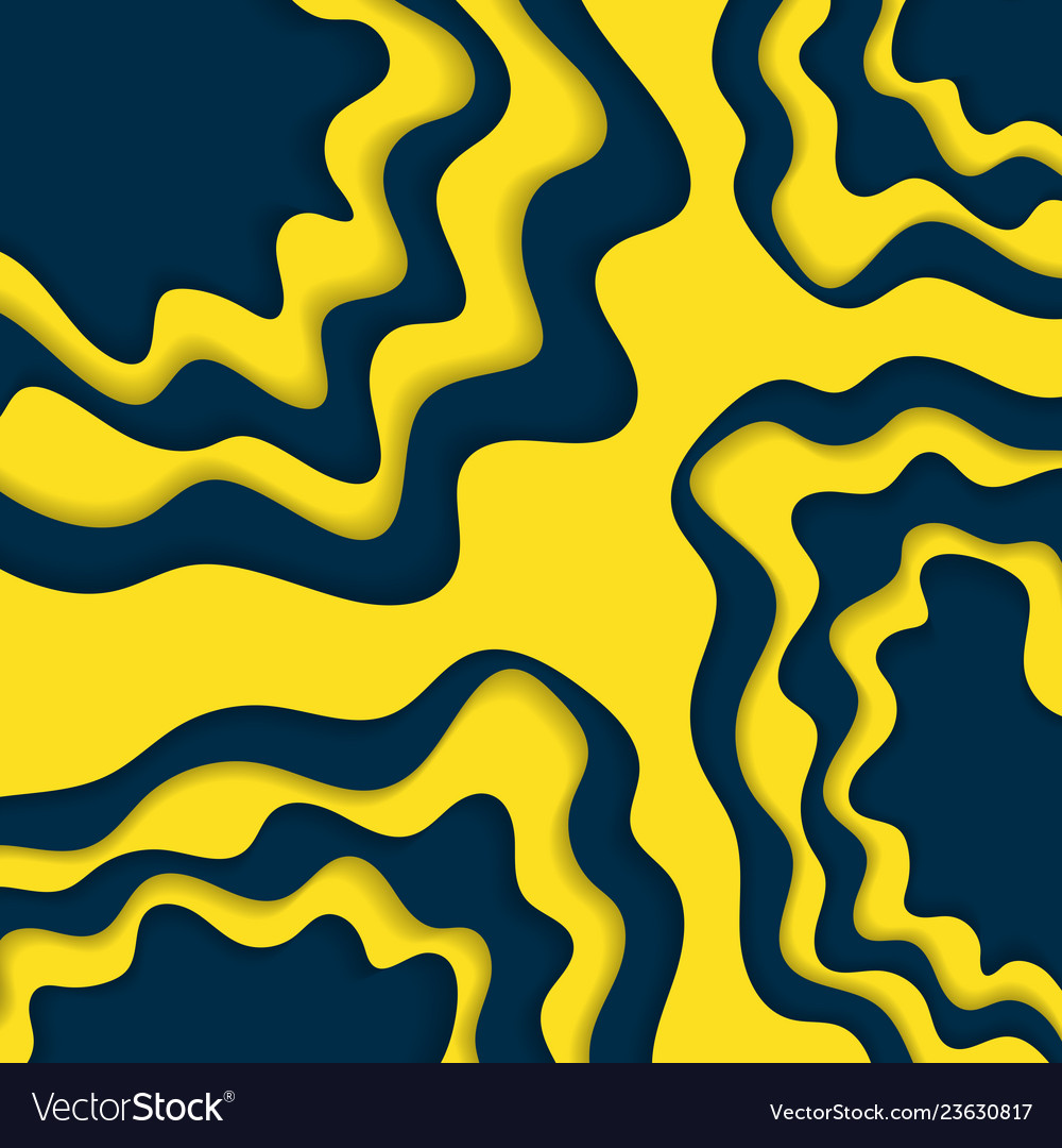 Blue and yellow paper cut wallpaper