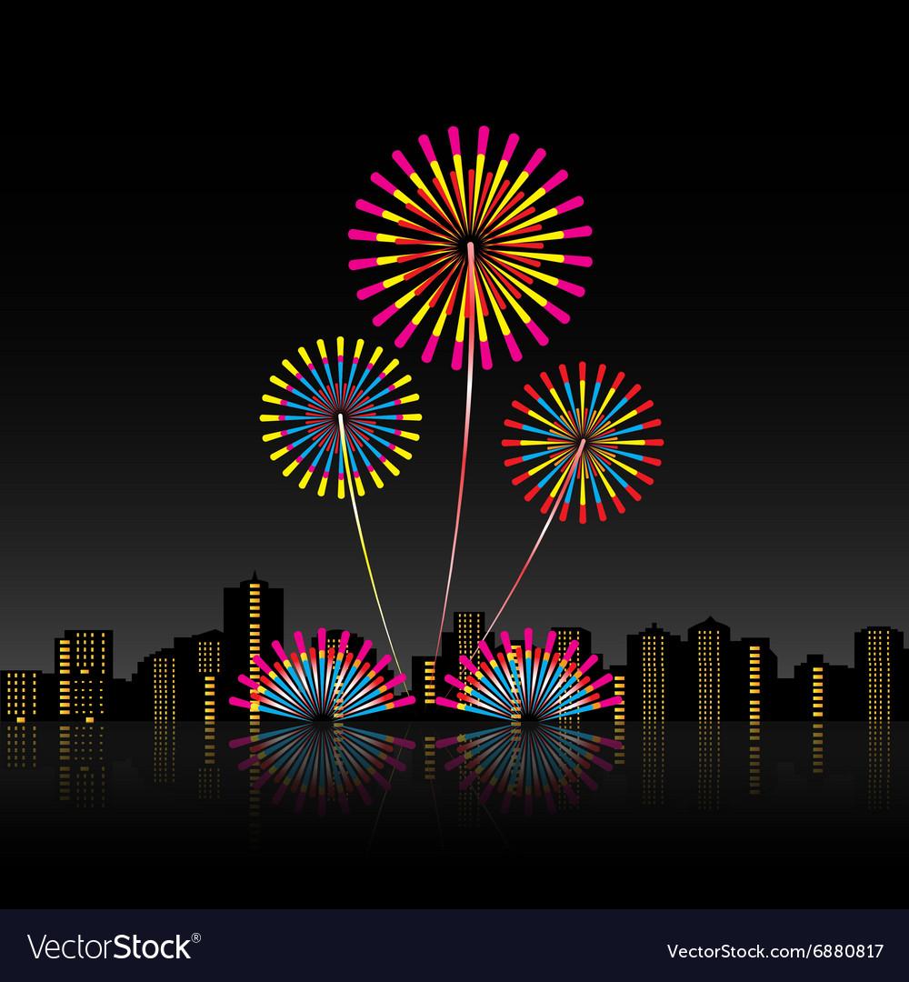 Bright festive fireworks vector image