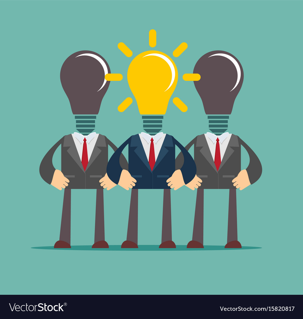Business Person Having An Bright Idea Light Bulb Vector Image