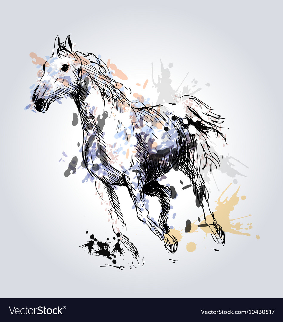 Colored Hand drawing horse