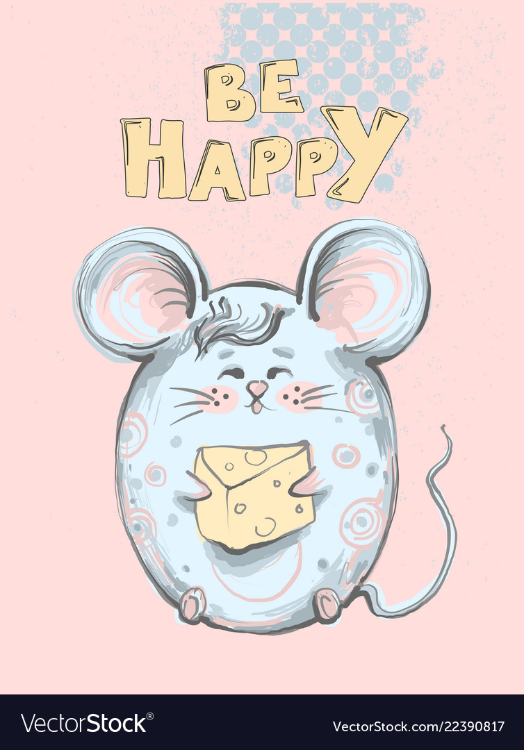 Cute and funny fat mouse with big ears holding