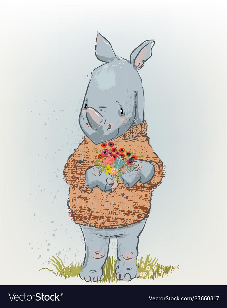 Cute rhino with floral wreath