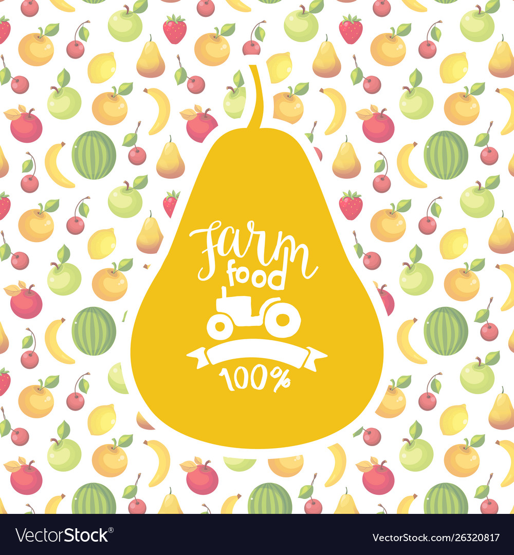 Farm food banner template with fruits seamless