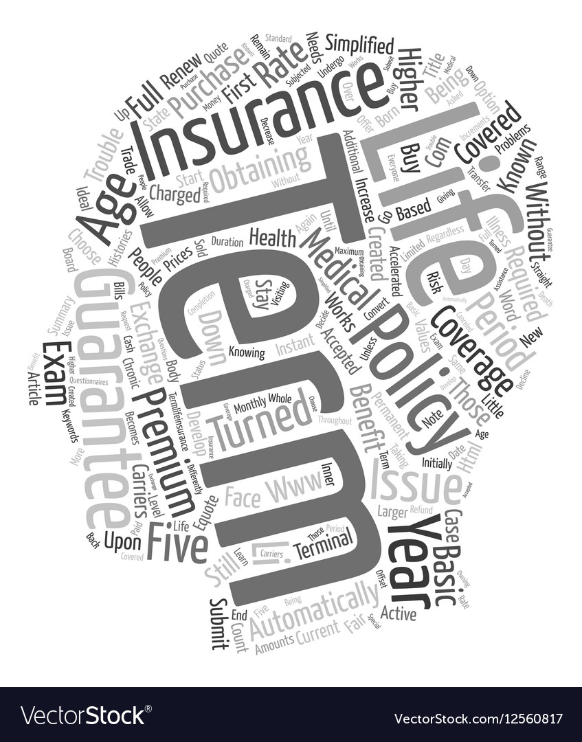 Guaranteed Issue Life Insurance >> Guaranteed Issue Term Life Insurance Text Vector Image