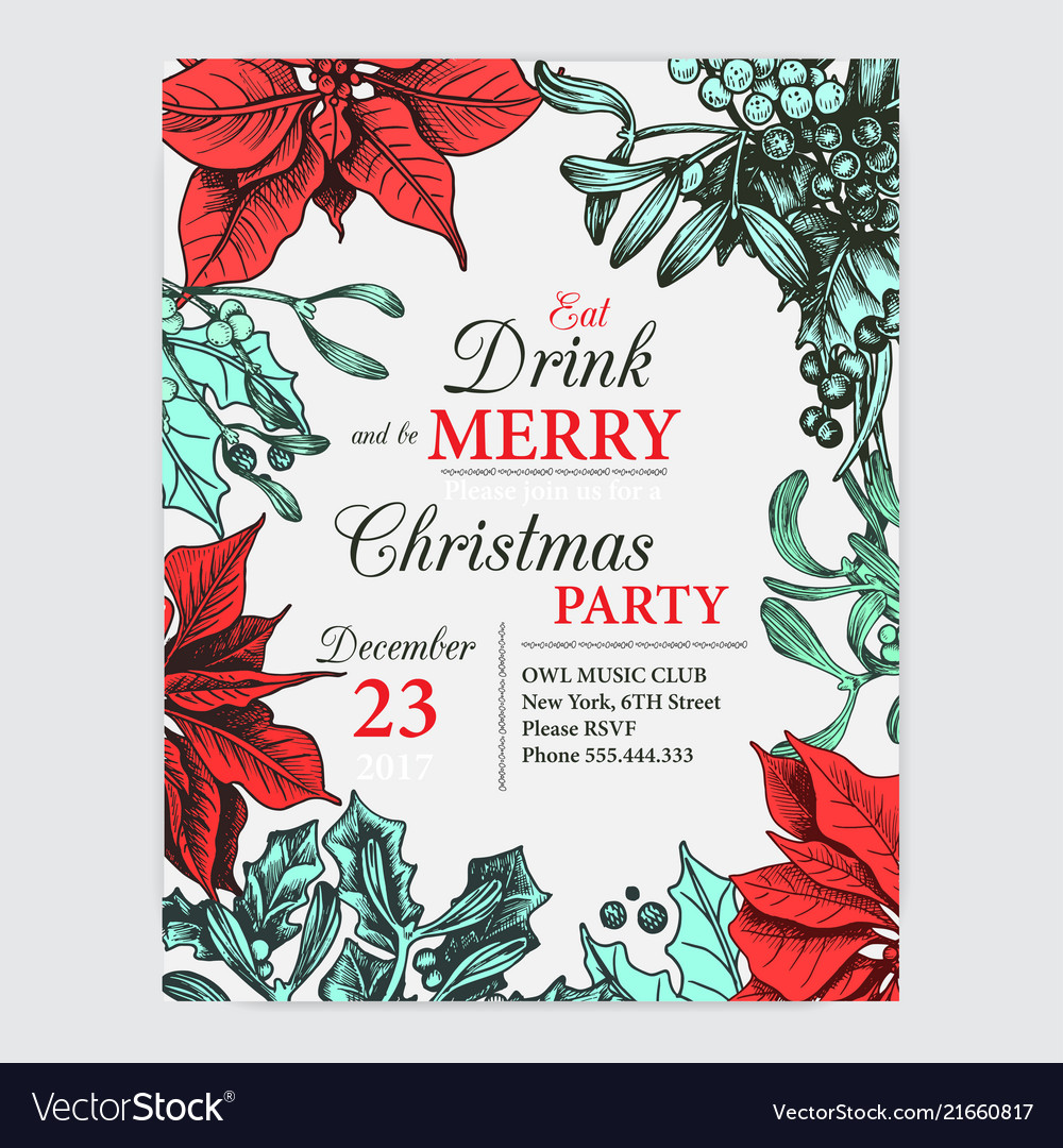 Invitation card for a christmas party design