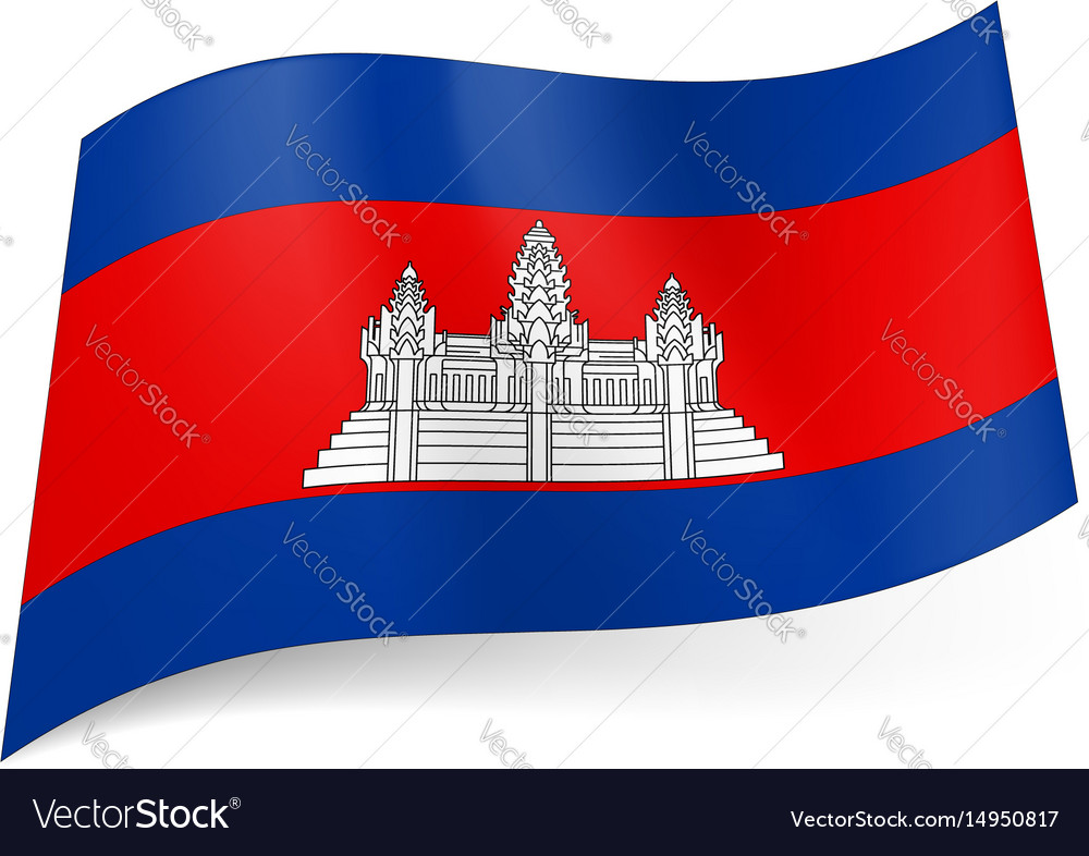 National flag of cambodia white temple on red