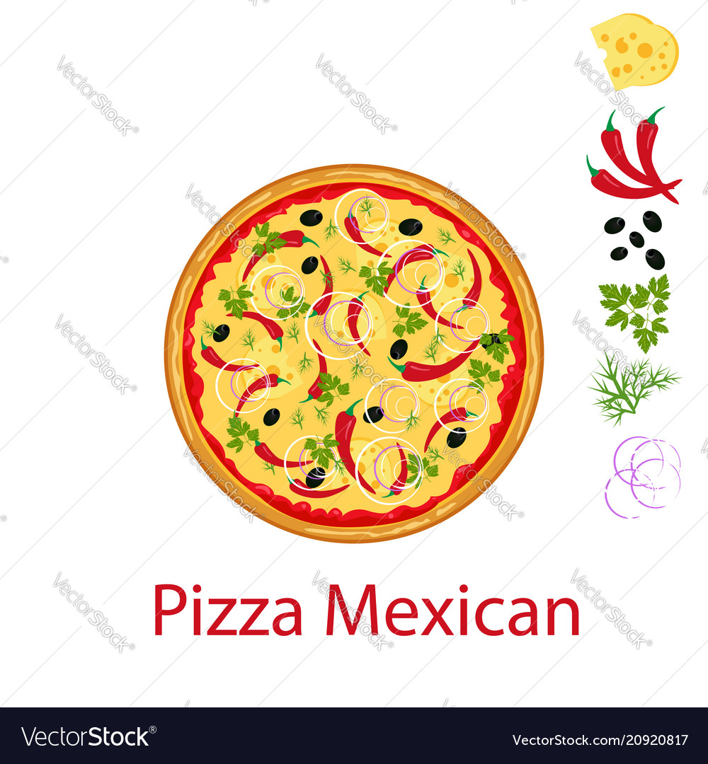 Pizza mexican flat icon isolated on white