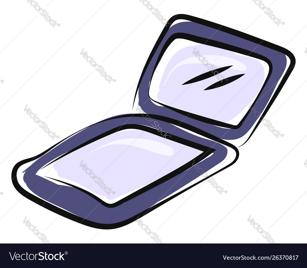 Purple mirror on white background