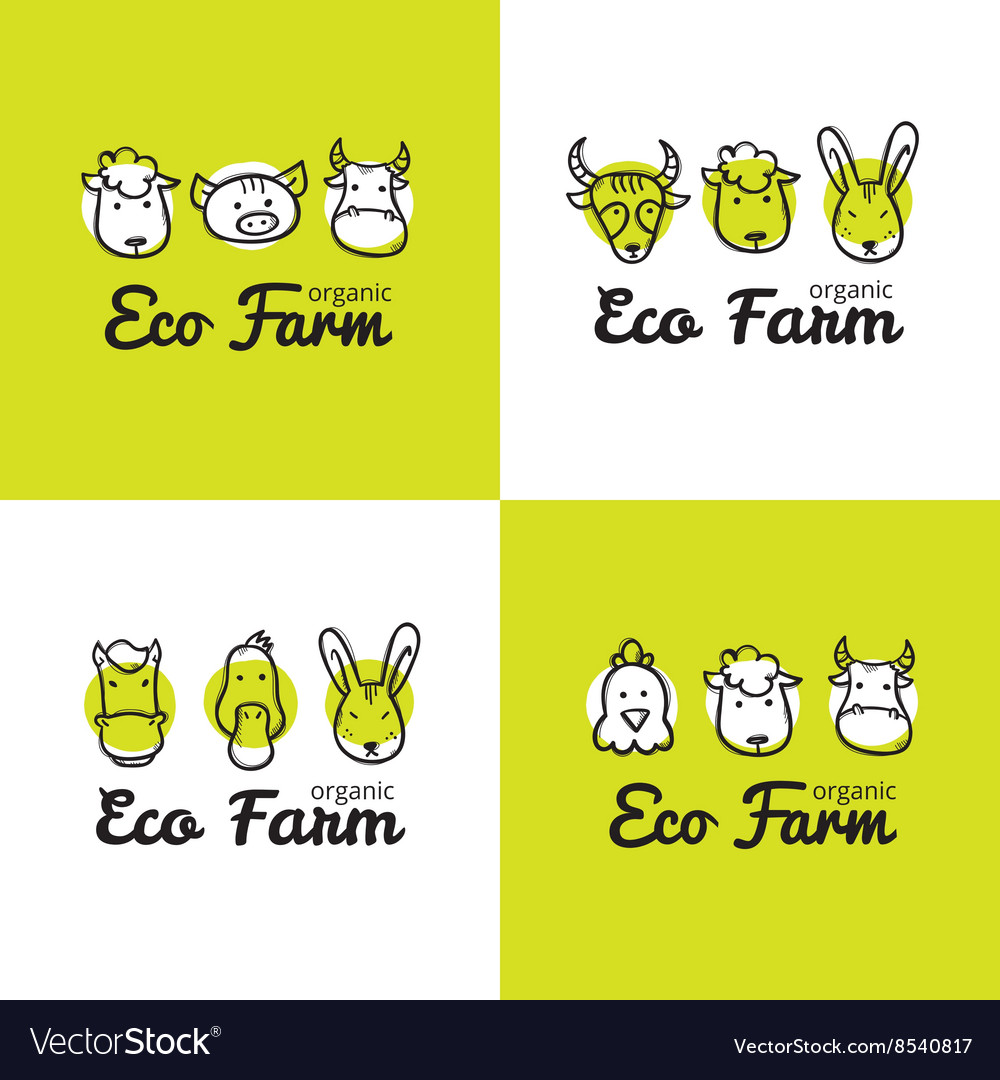 Set of cute eco farm logos in doodle style vector image
