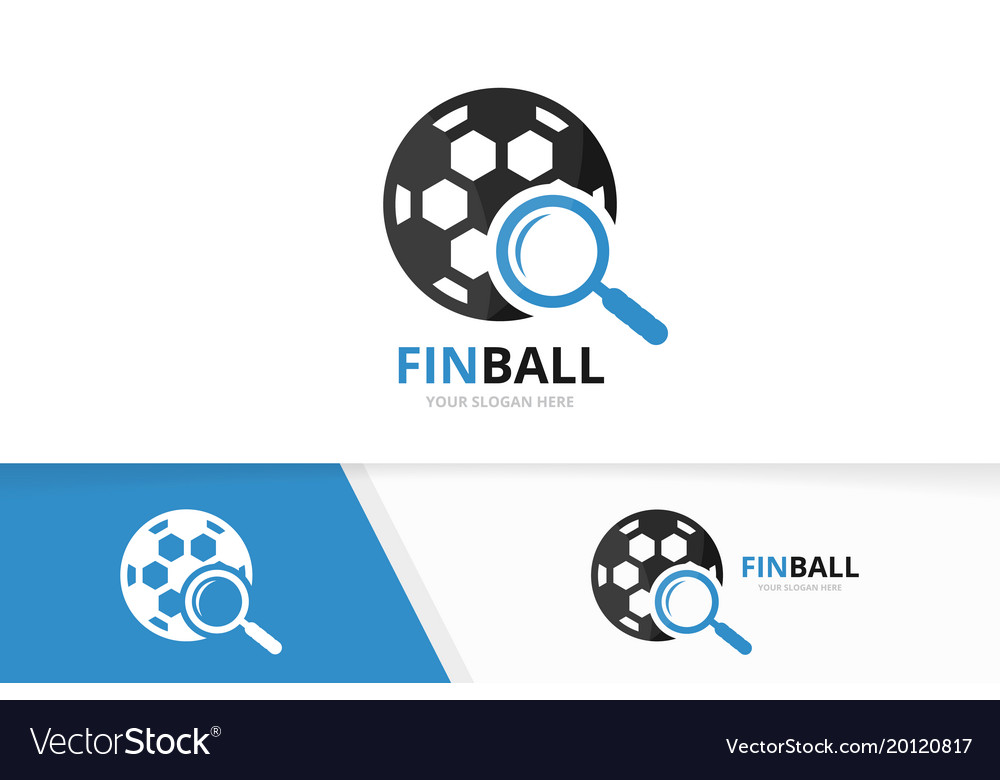 Soccer and loupe logo combination ball and