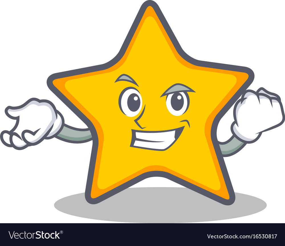 Successful star character cartoon style
