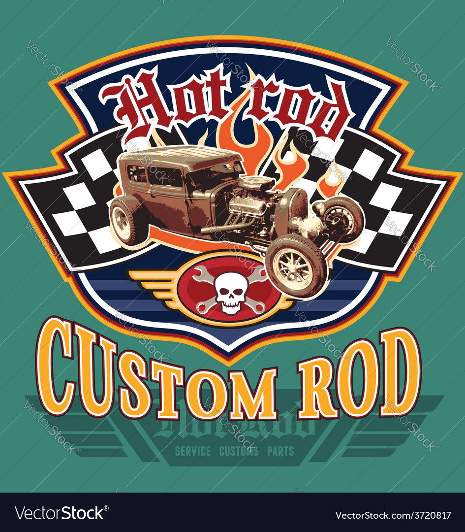 Vintage hot rod garage Royalty Free Vector Image