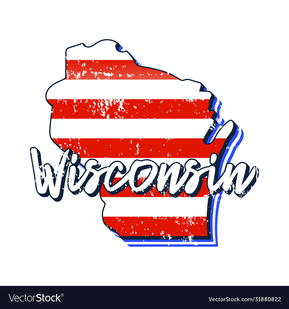 American flag in wisconsin state map grunge style