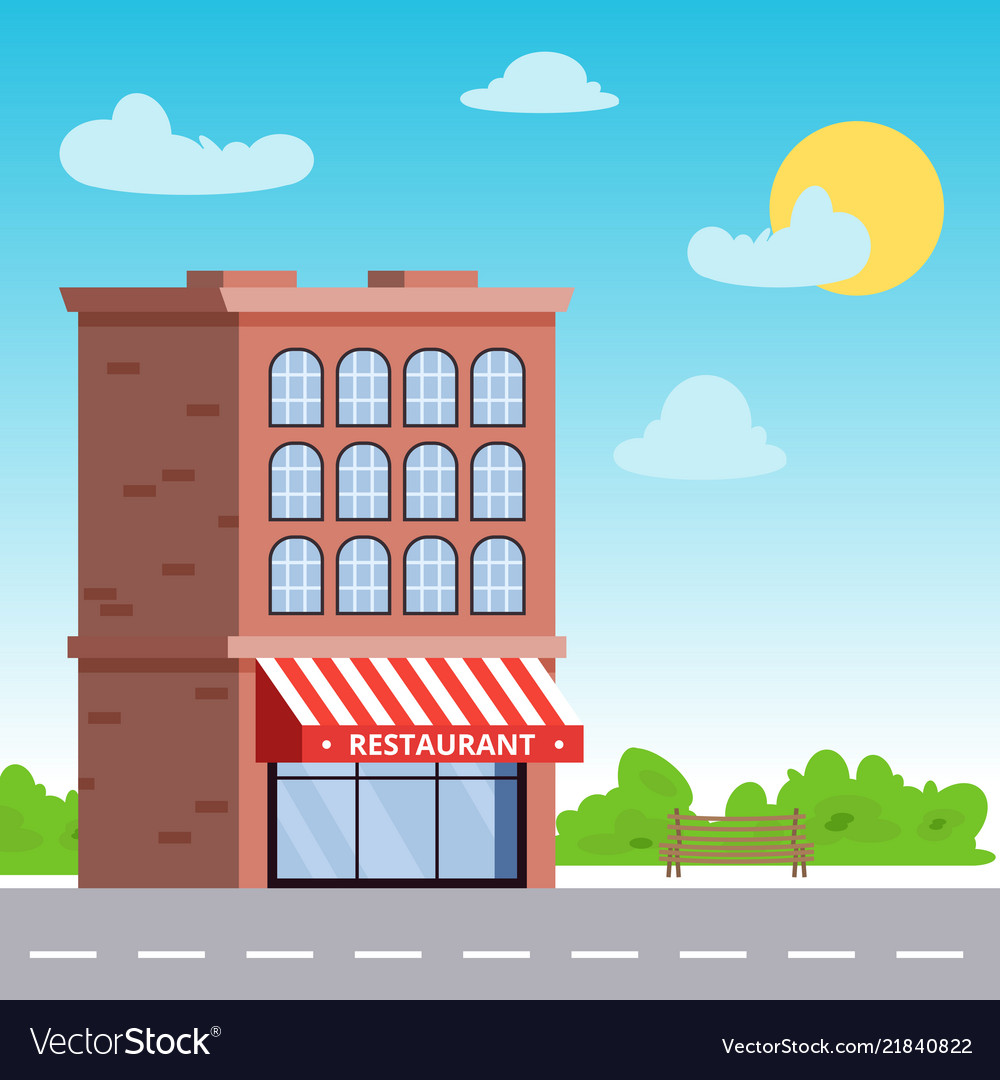 Building with a restaurant or a storefront on the