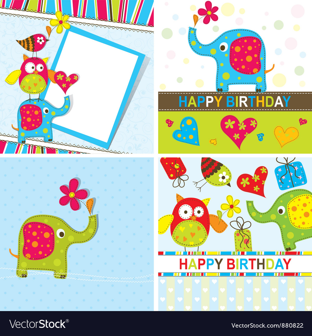 Children Birthday Cards Set Royalty Free Vector Image