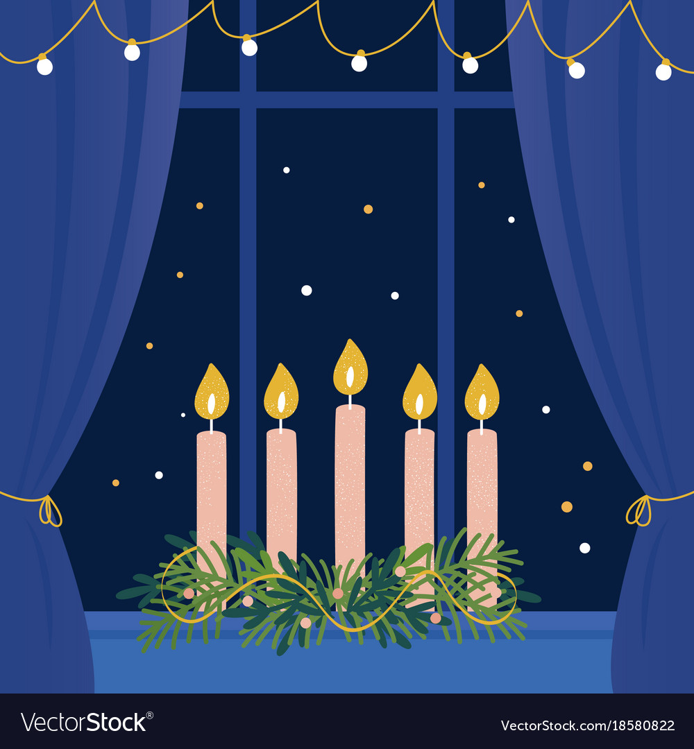 Christmas advent wreath with candles on window vector image