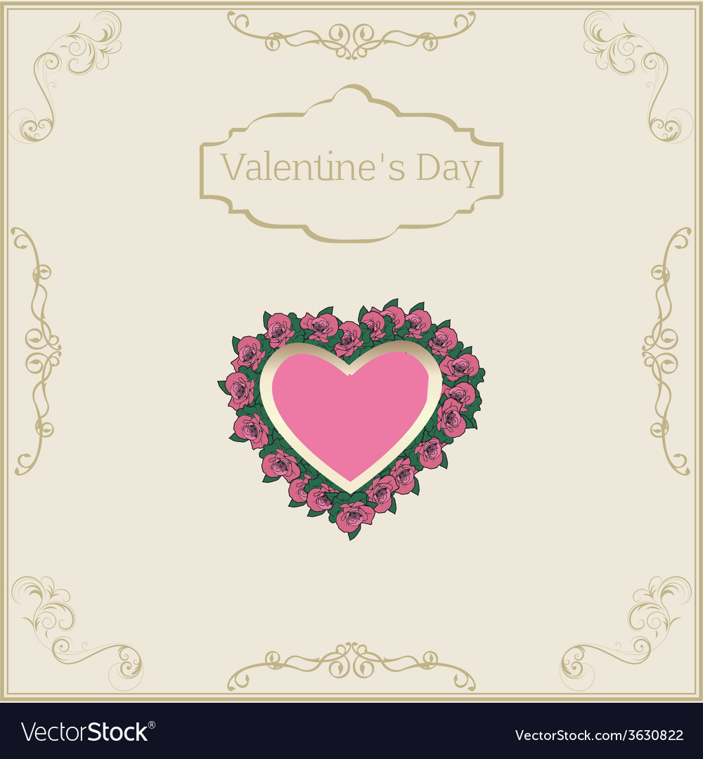 Greeting card for Valentines Day in vintage style