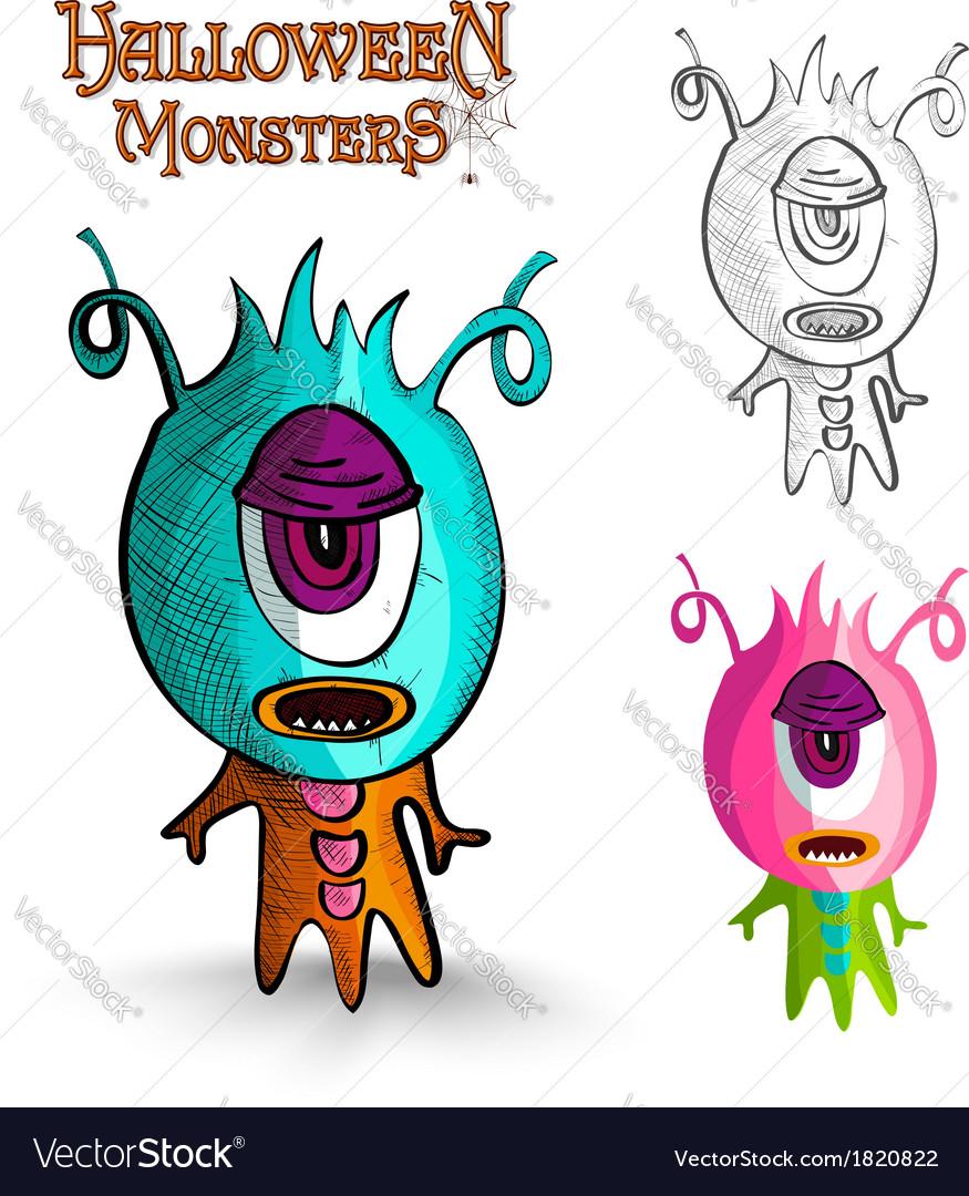Halloween monsters one eye creature EPS10 file vector image