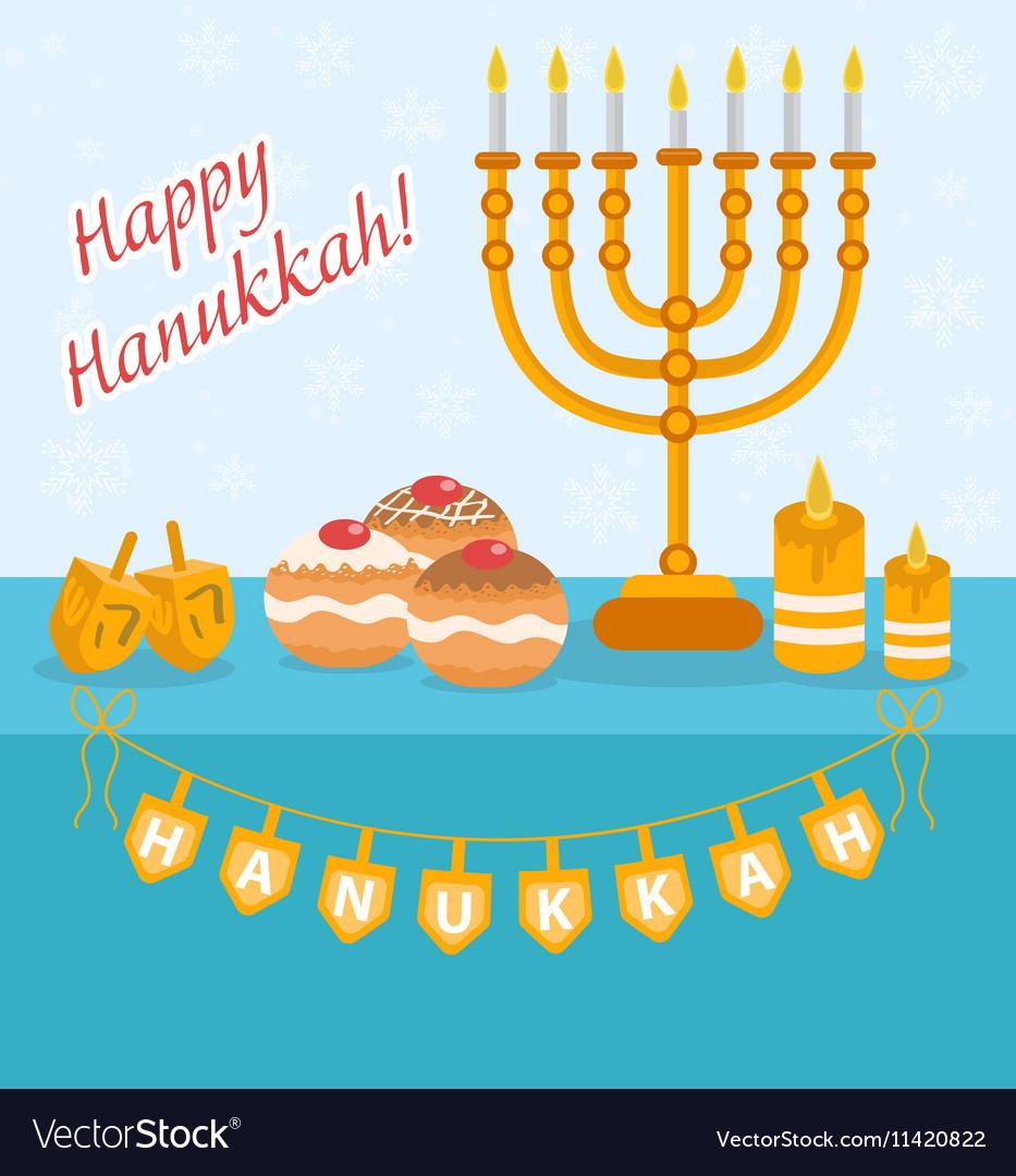 Happy Hanukkah greeting card invitation poster