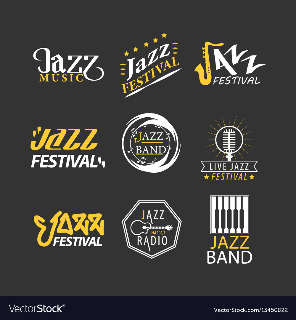 Jazz festival logos set isolated on black