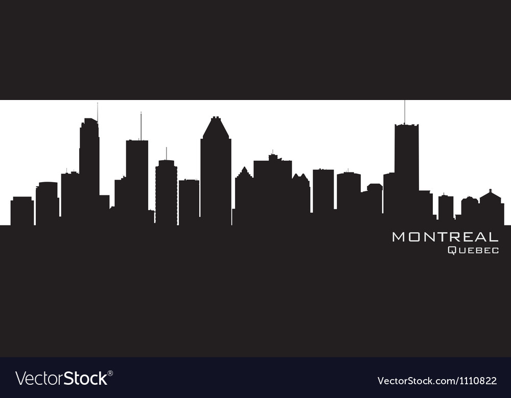 Montreal Canada skyline Detailed silhouette