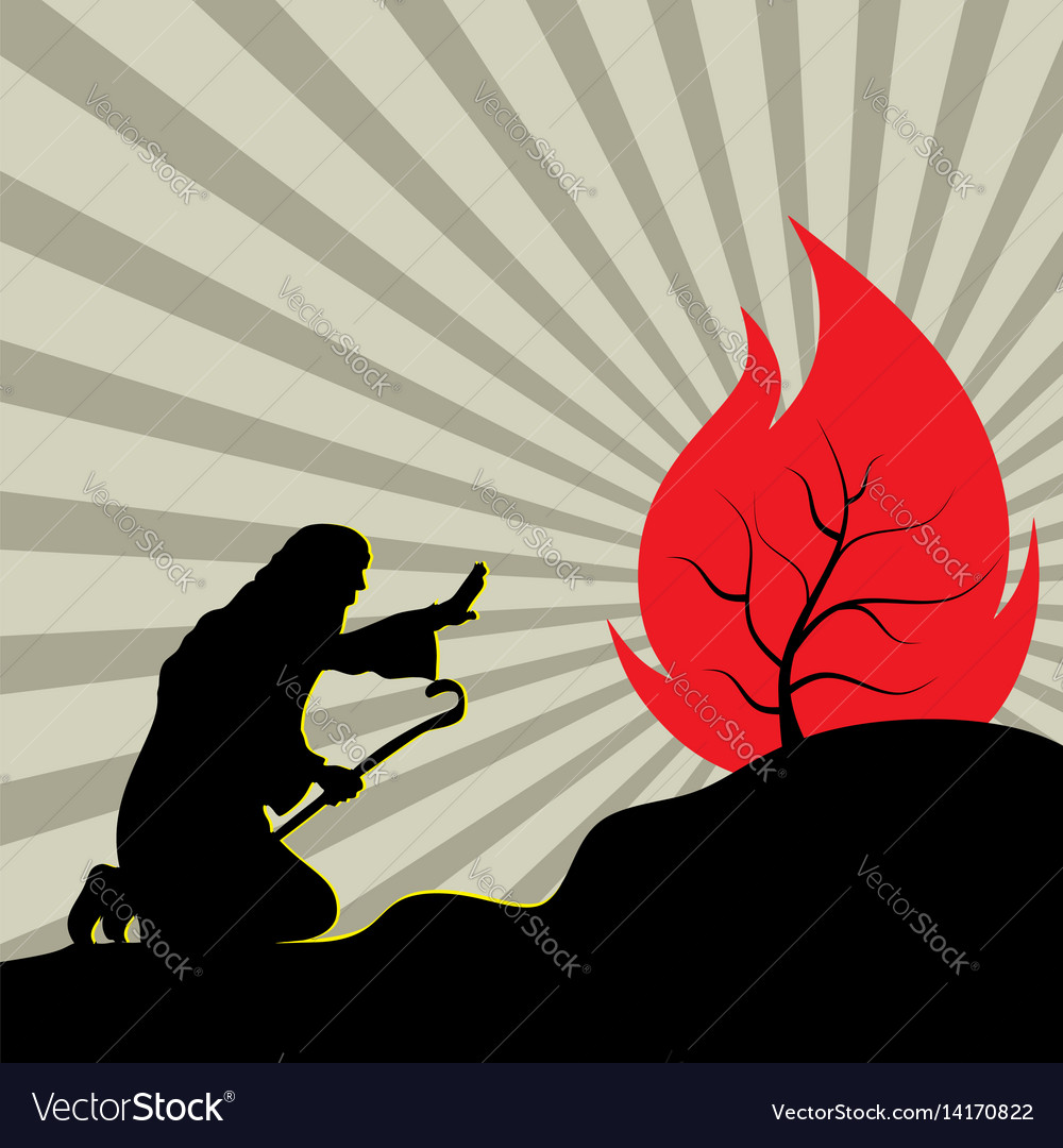 Moses and the burning bush vector image