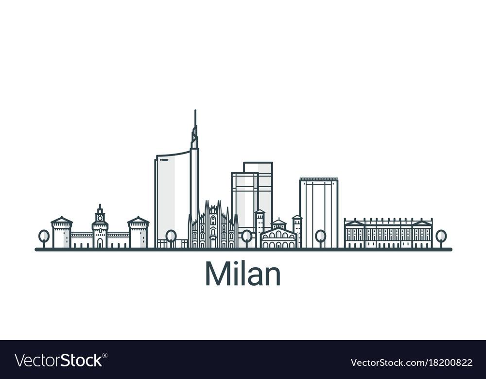 Outline milan banner vector image
