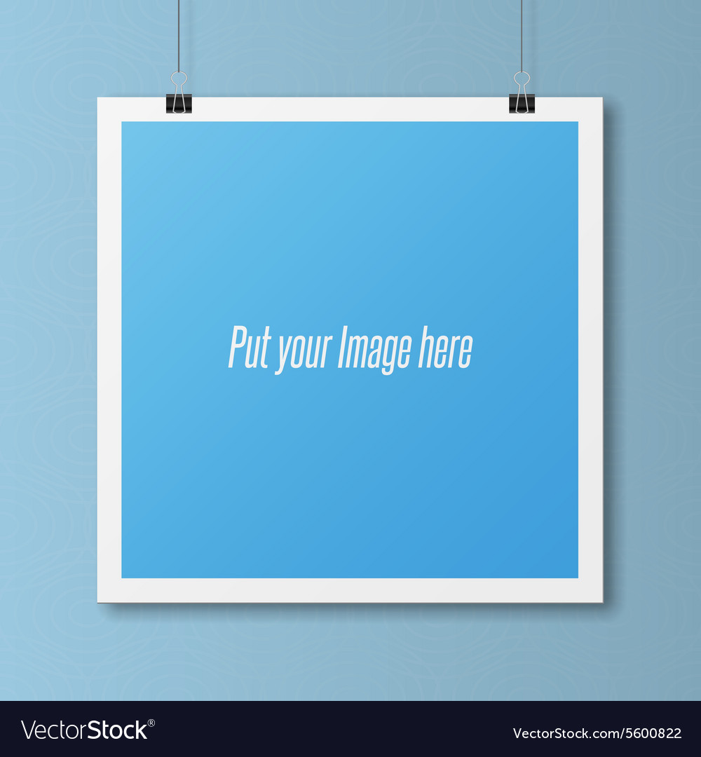 realistic blank poster template on wall royalty free vector