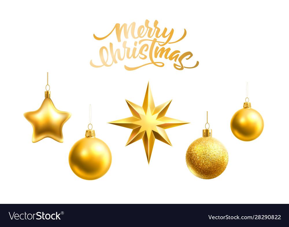 Realistic christmas tree decor balls stars