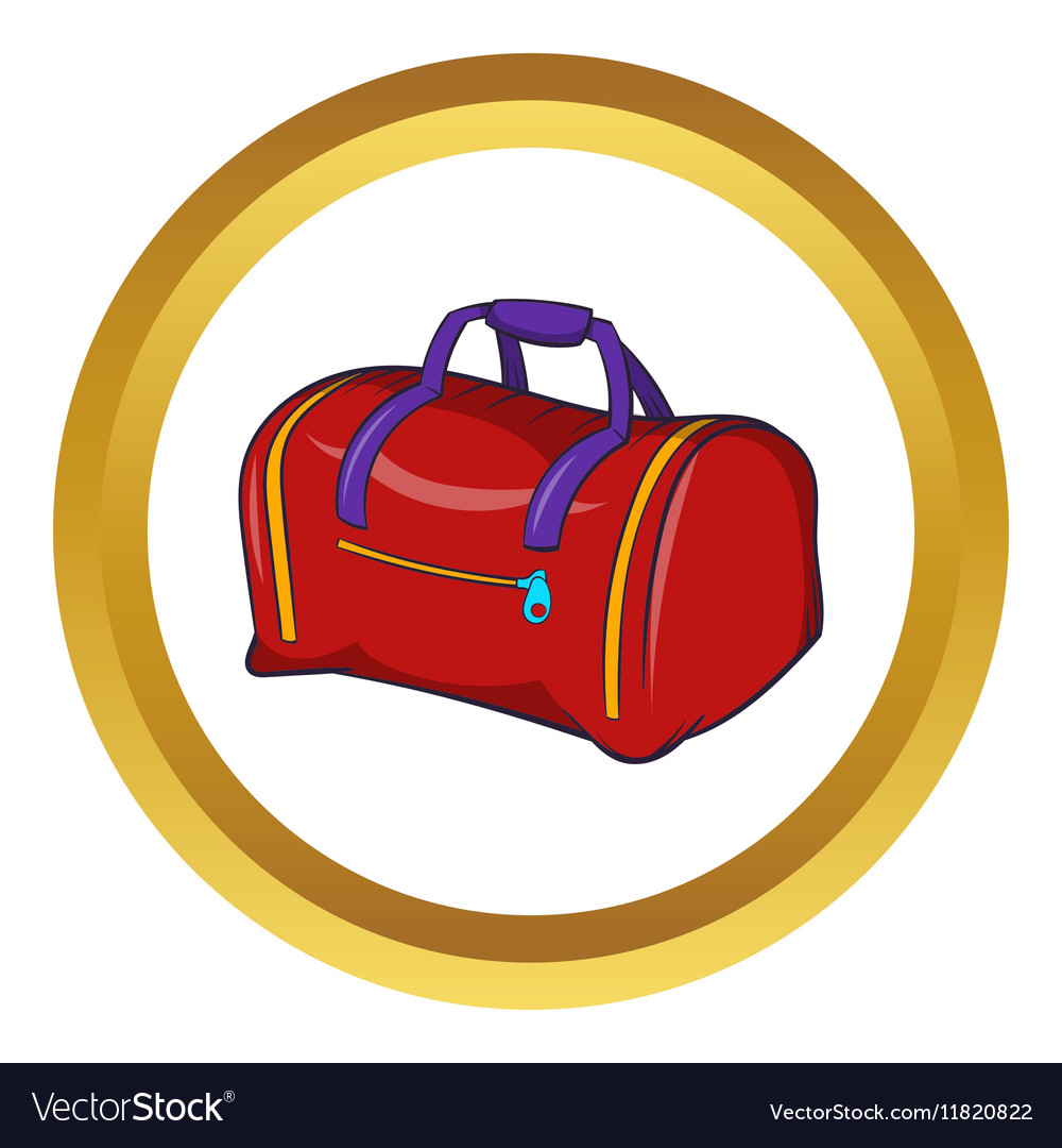 Red sports bag icon cartoon style