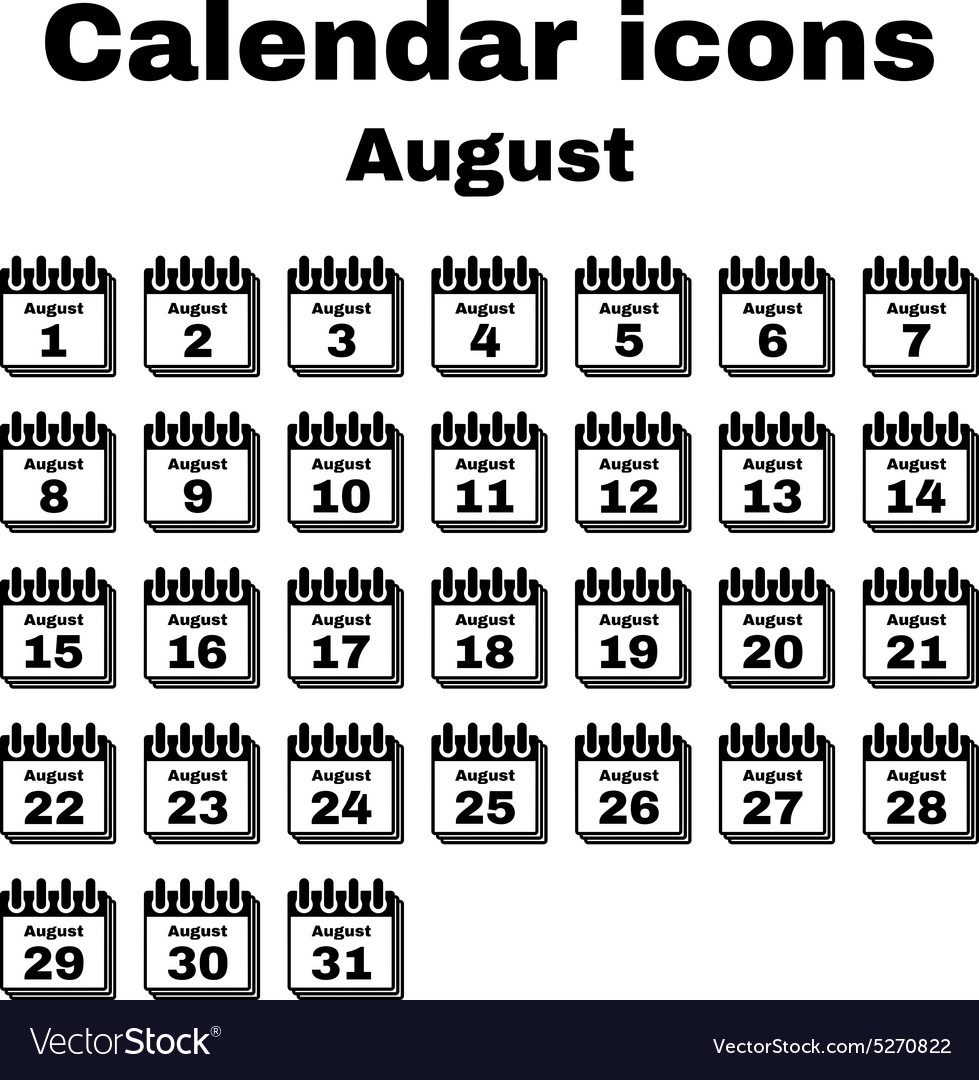 The Calendar Icon August Symbol Flat Royalty Free Vector