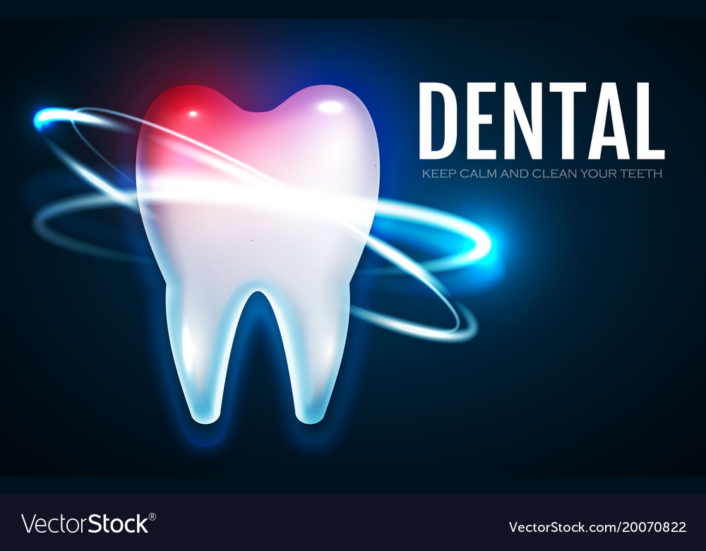 Tooth treatment with motion lights stomatology vector image