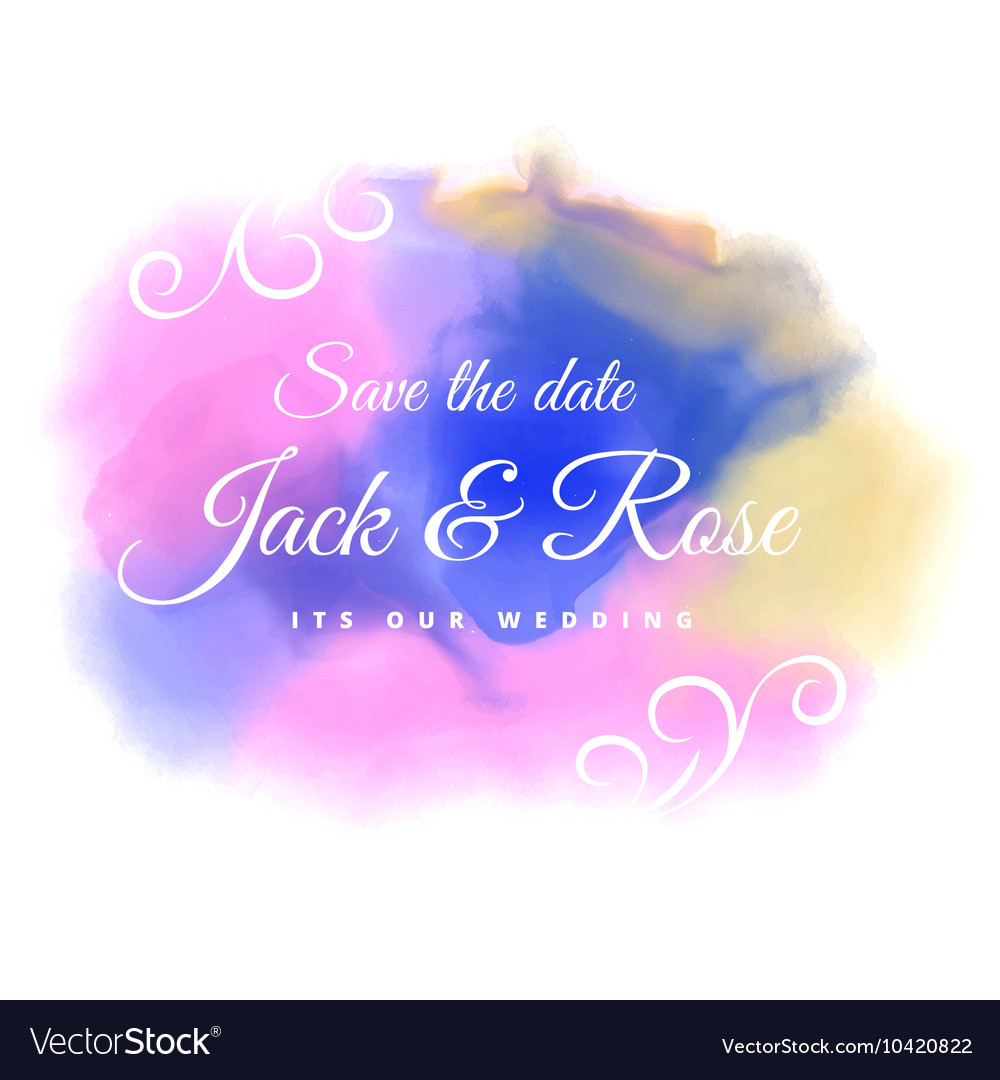 Water color stain wedding background vector image
