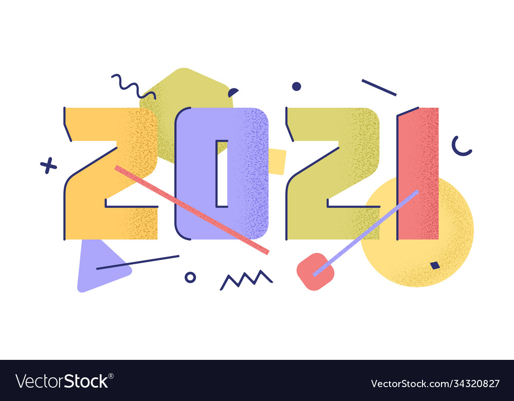 2021 with flat cartoon numbers with trendy grain