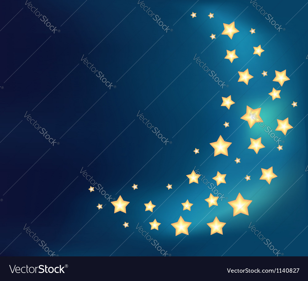 Background with a moon made of shiny cartoon stars