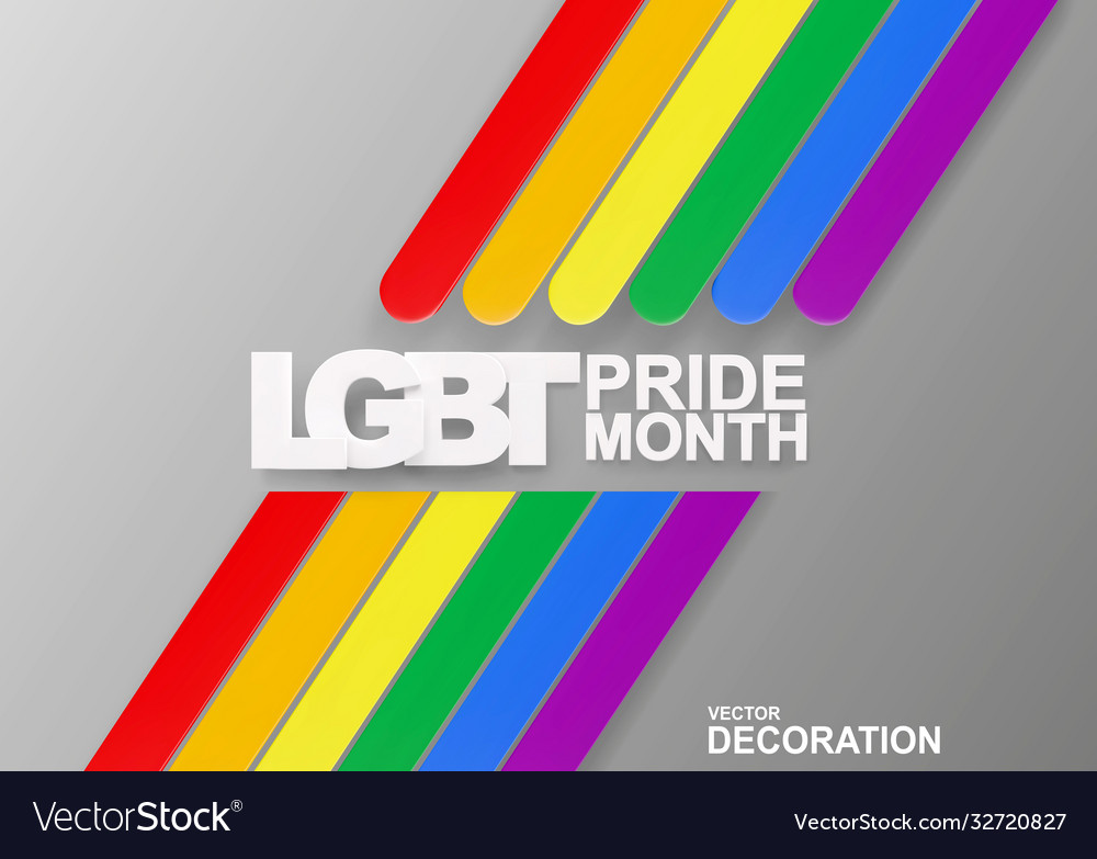 Banner with volumetric text lgbt pride month