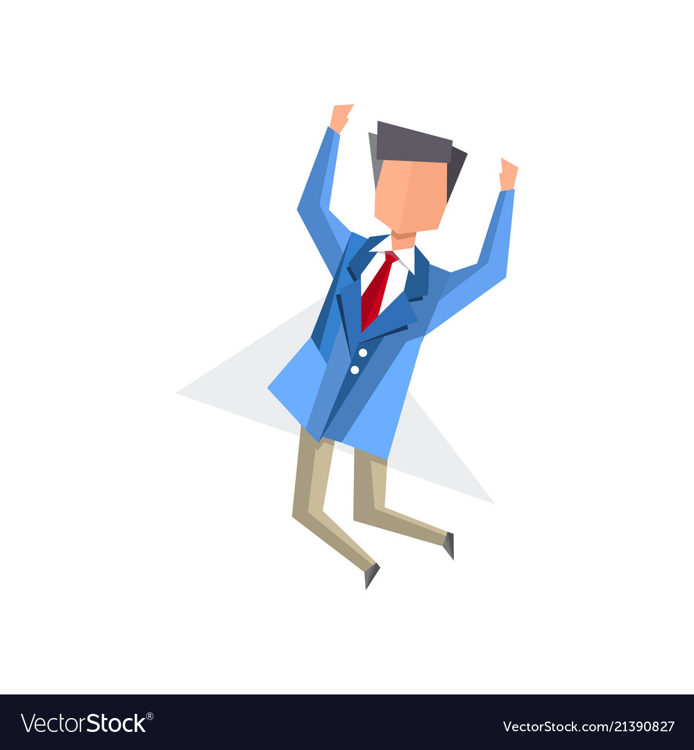 Businessman happily jumping cartoon