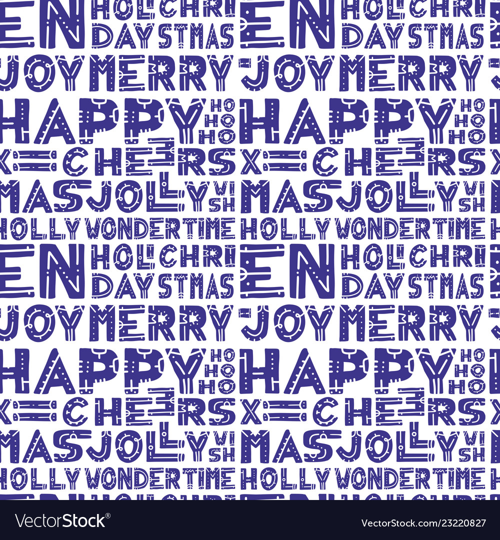 Christmas words seamless pattern in hand draw